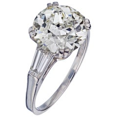 3 Carat Round Diamond G/I1 EGL with 2 Side Tapered Baguettes Engagement Ring