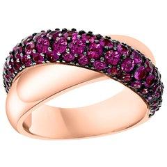 3 Carat Ruby 18 Karat Rose Gold Cross Over Ring 13 Grams Size 8