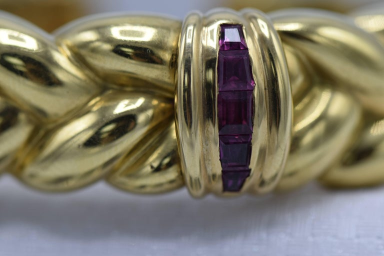 Contemporary 3 Carat Ruby and Gold Bangle Bracelet For Sale