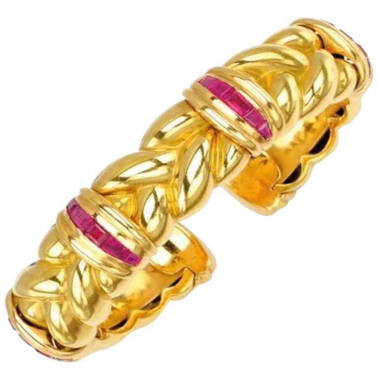 3 Carat Ruby and Gold Bangle Bracelet For Sale