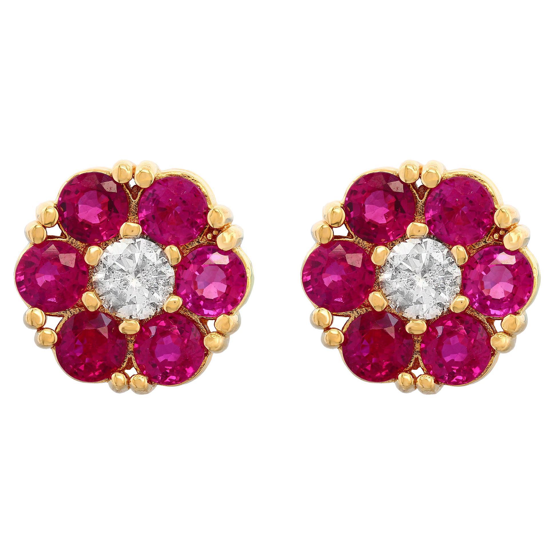 3 Carat Ruby & Diamond Floral Cluster Flower Stud Earrings 14 Karat Yellow Gold