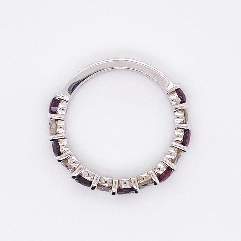 Modern 3 Carat Ruby & Diamond 3/4 Band in 14 Karat White Gold, Red Ruby White Diamonds For Sale