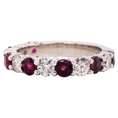 3 Carat Ruby & Diamond 3/4 Band in 14 Karat White Gold, Red Ruby White Diamonds