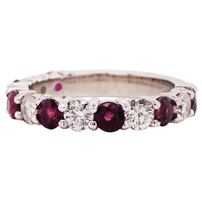 3 Carat Ruby & Diamond 3/4 Band in 14 Karat White Gold, Red Ruby White Diamonds For Sale