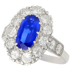 3 Carat Sapphire and 1.83 Carat Diamond White Gold Cluster Ring, circa 1935