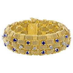 3 Carat Sapphire and 2 Carat Diamond Bracelet in 18 Karat Yellow Gold 116 Gm