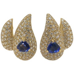 3 Carat Sapphire and Diamond Earrings by Sabbadini