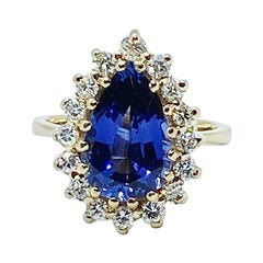 3 Carat Sapphire and Diamond Teardrop Ring 14 Karat