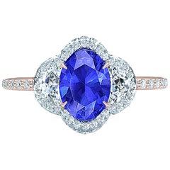 3 Carat Sapphire and Diamond Three-Stone Ring Rose and White Gold