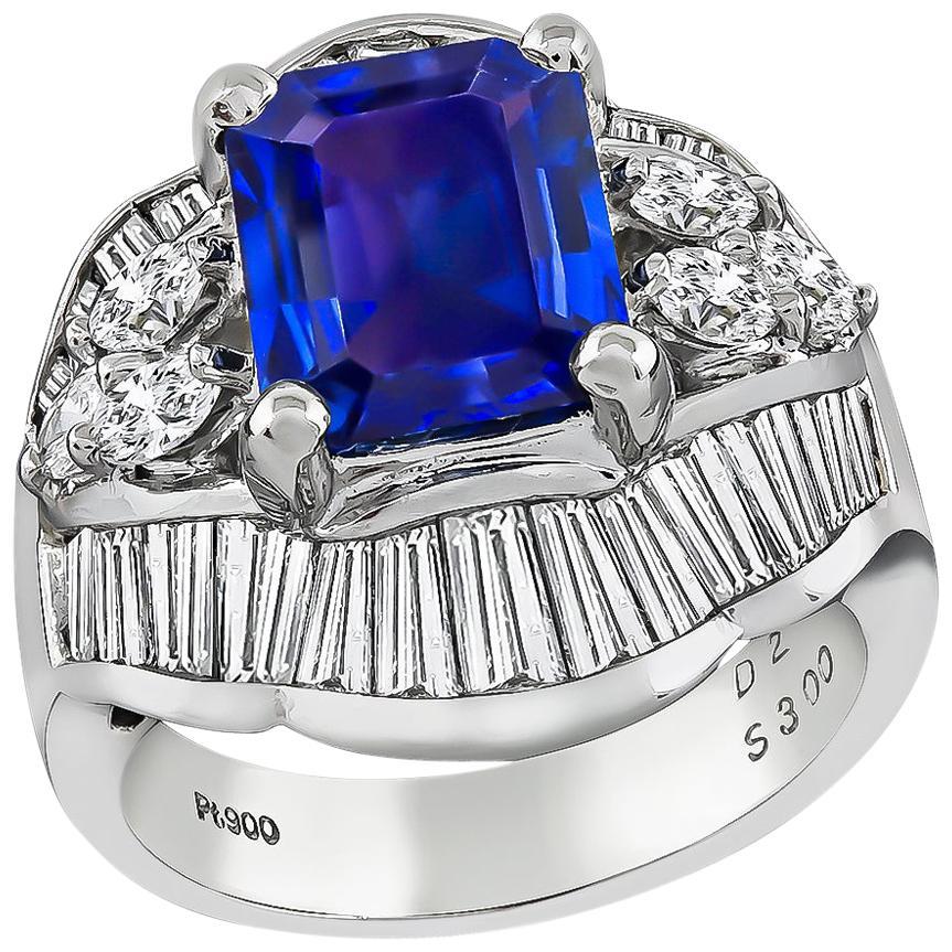 3 Carat Sapphire Diamond Platinum Ring
