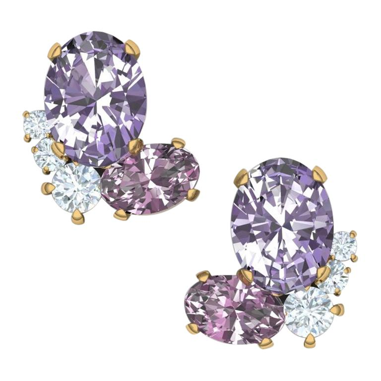 3 Carat Spinel and Diamond Cluster Yellow Gold Earrings For Sale