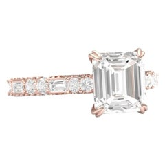 3 Carat Square Emerald Cut Diamond Engagement Ring Rose Gold GIA Certified