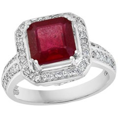 3 Carat Square Treated Ruby and Diamond 14 Karat White Gold Ring