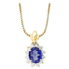 3 Carat Tanzanite and 1 Ct Diamond Pendant or Necklace 14 Karat Yellow Gold