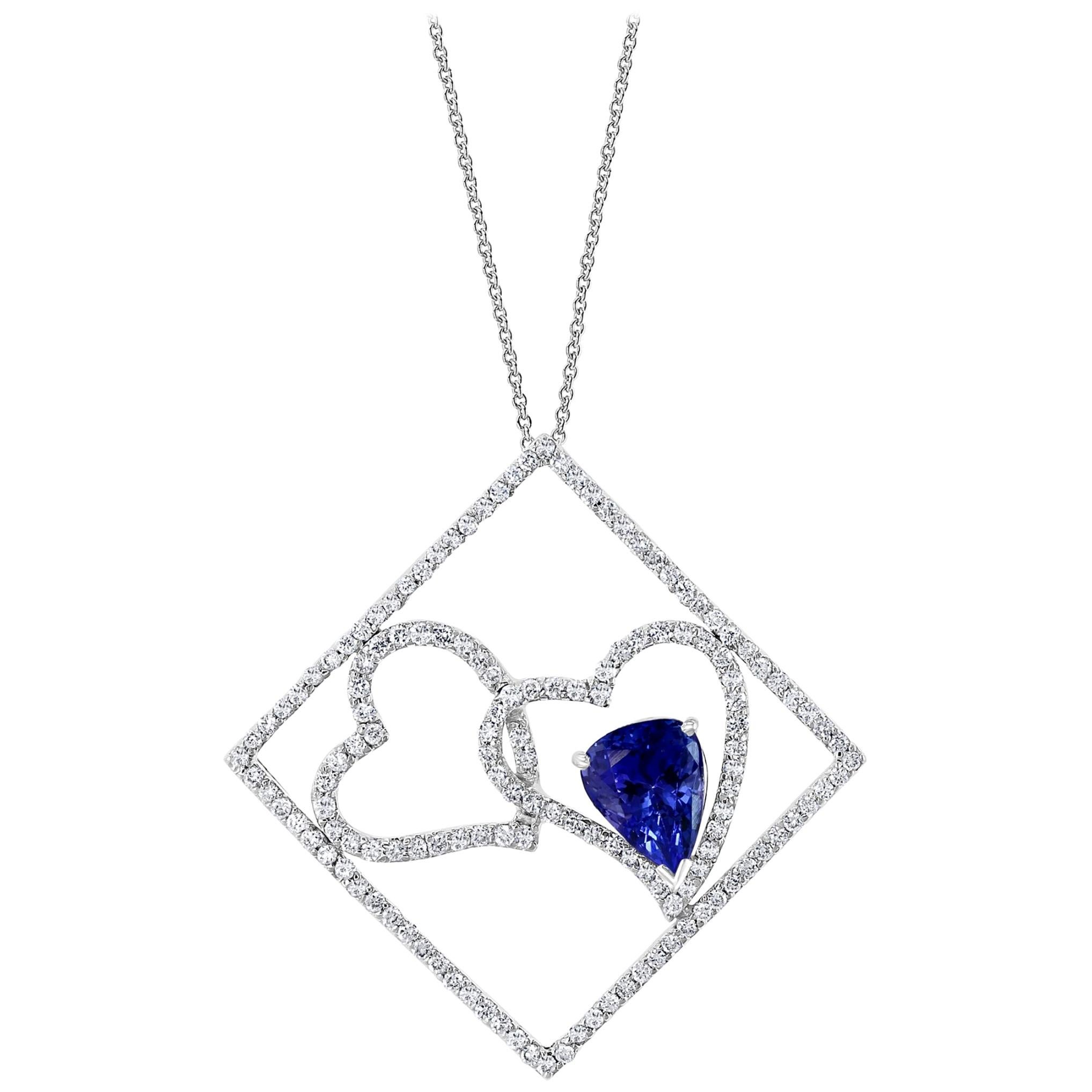 3 Carat Tanzanite and 2 Carat Diamond Two Heart Pendant/ Necklace 18 Karat Gold