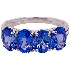 3 Carat Tanzanite Band, 14 Karat White Gold Four-Stone Ring Oval Tanzanite Gem