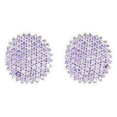 3 Carat Tanzanite Earrings Estate 14 Karat Gold Clip-On Backings Round Pave Set