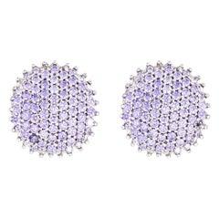 3 Carat Tanzanite Earrings Estate 14 Karat Gold Clip-On Backings Round Pave Set
