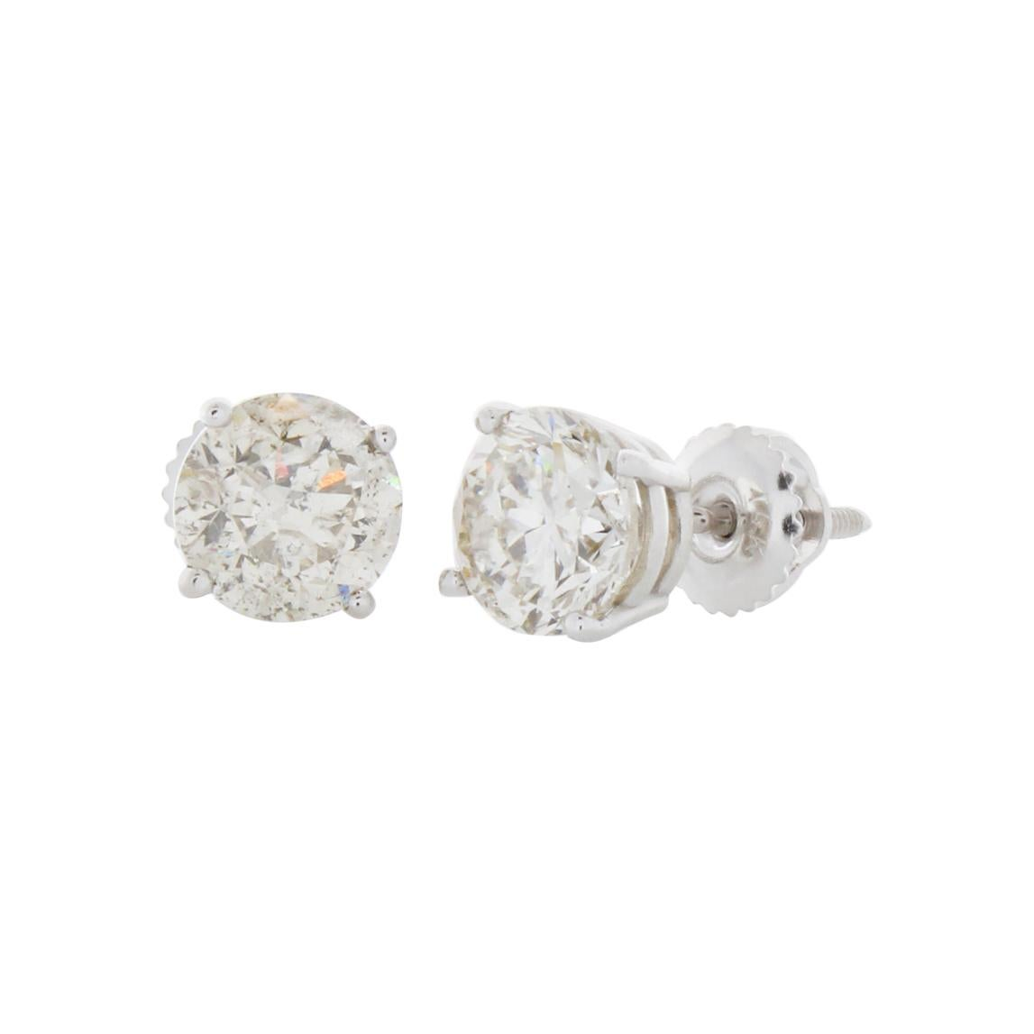 3 Carat Total Diamond Stud Earrings in 14k White Gold