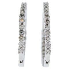 3 Carat Total Weight Diamond Inside-Outside Hoop Earrings in 14 Karat White Gold