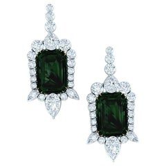 3 Carat Tourmaline and Diamond Platinum and Yellow Gold Drop Earrings