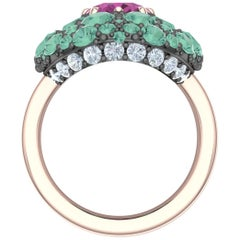 3 Carat Tourmaline and Diamond Silver and Rose Gold Ring