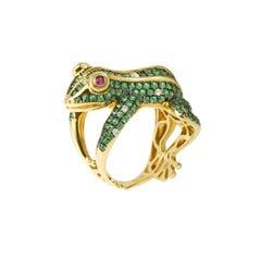 3 Carat Tsavorite Diamonds Ruby 18 Karat Yellow Gold Frog Ring