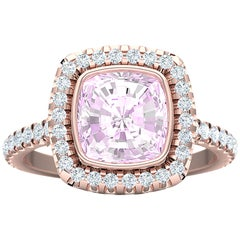 3 Carat Unheated Pink Sapphire Rose Gold Engagement Ring