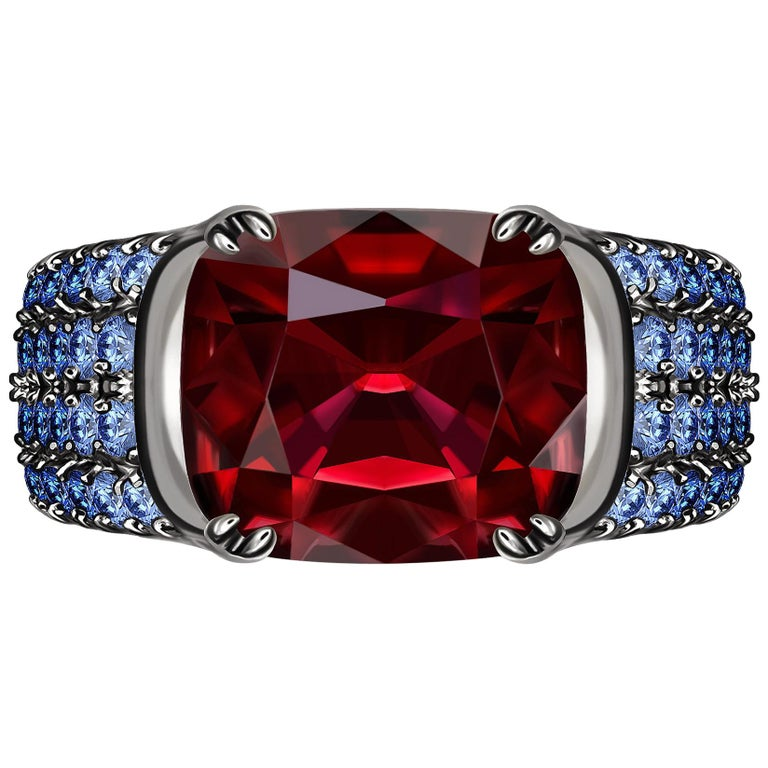 3 Carat Vivid Red Spinel Ring with Blue Sapphires 18 Karat Gold For Sale
