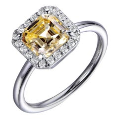 3 Carat Yellow Asscher Cut Sterling Silver Halo Round Brilliant Claw Set Ring