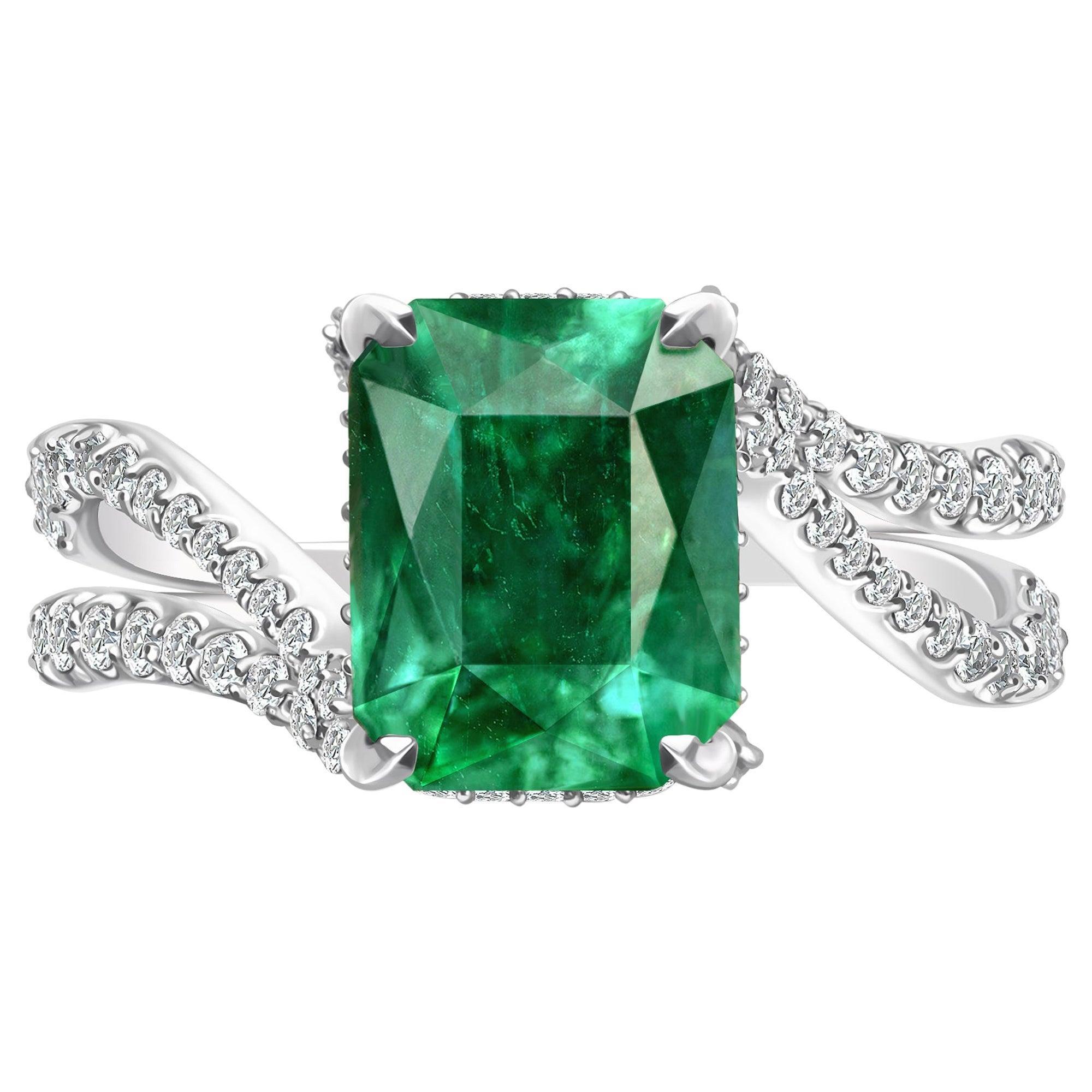 3 Carat Zambian Emerald Diamond 18 Karat White Gold Ring