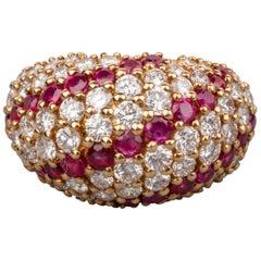 3 Carat Diamonds and 2 Carat Rubies Boucheron Paris Cocktail Ring