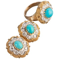 3 Carat Diamonds and Turquoise Set by Vourakis