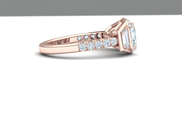 A modern twist on a classic three stone.  This classy and modern rose gold set beauty has a 2 carat GIA certified K- VS2.  The center stone displays much whiter than a K color.  Because of fluorescence the color of the stone looks more like an H or