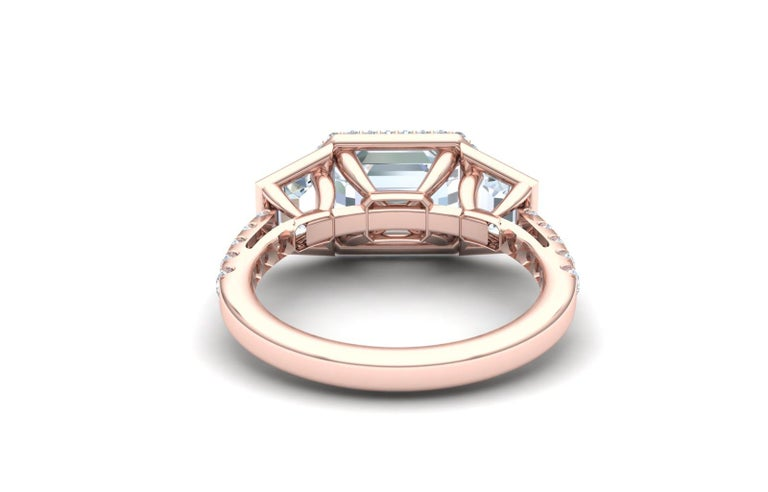 Modern 3 Carat Emerald Cut GIA Certified Diamond Engagement Rose Gold Ring For Sale