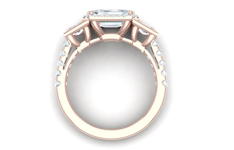 3 Carat Emerald Cut GIA Certified Diamond Engagement Rose Gold Ring In Excellent Condition For Sale In Aliso Viejo, CA