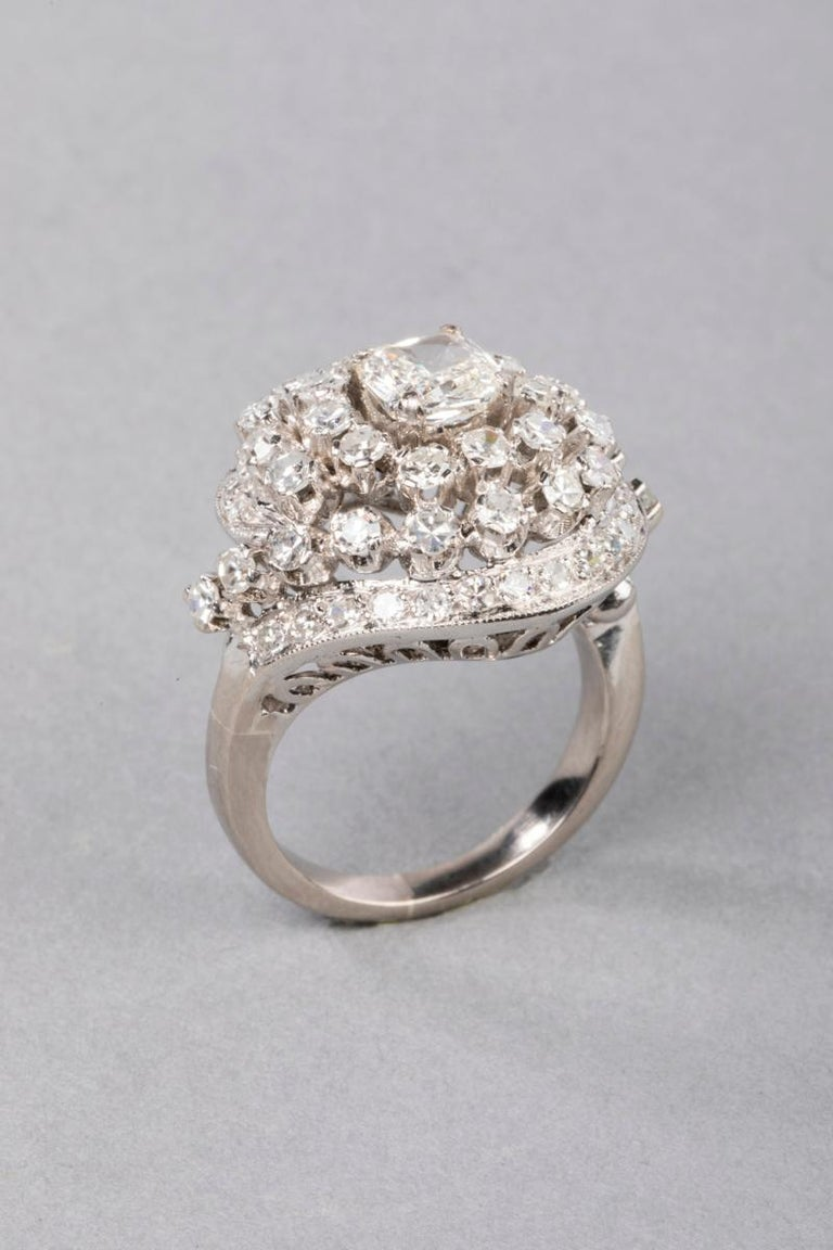 Cushion Cut 3 Carat Gold and Diamonds French Cocktail Ring For Sale
