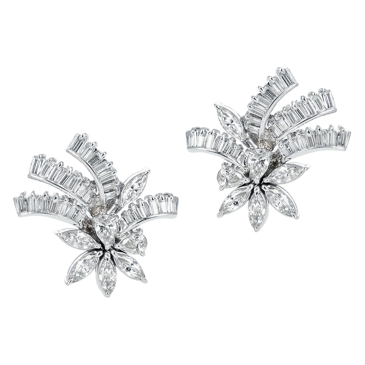3 Carats Pear, Marquise, and Baguette Diamond Floral Cocktail Earrings, Platinum