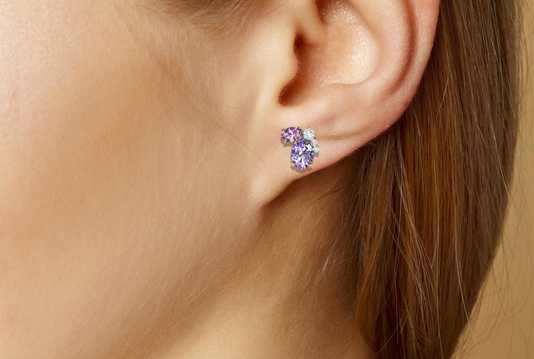 Oval Cut 3 Carat Spinel and Diamond Cluster Yellow Gold Earrings For Sale