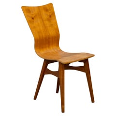 3 Chairs in the Gio Ponti Style in Curved Wood Mid-Century Modern