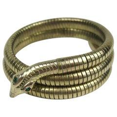 3 Coil Green Eyed Wrap Snake Bracelet 1940s
