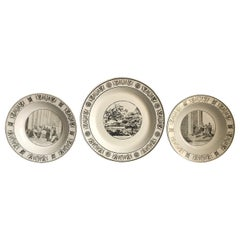 3 Creil Montereau Transfer-Ware Plates