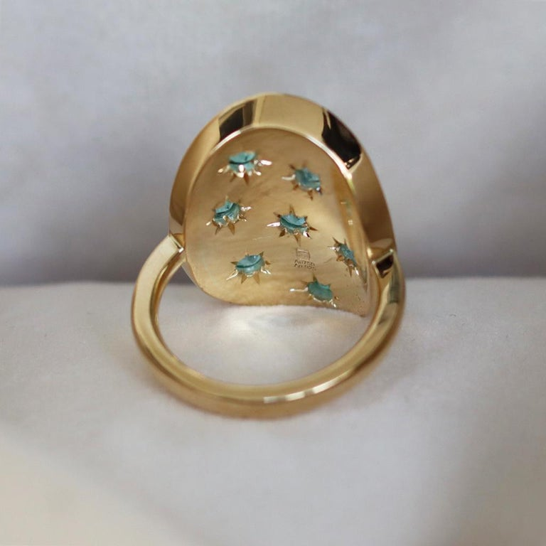 3 Ct Mozambique & Brazilian Paraiba Tourmalines Tourmaline Cabochons Mosaic Ring In New Condition In Antwerp, BE