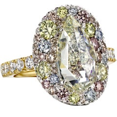 3 Ct. Pear Shape Rose-cut Diamond, Pink, Blue, Yellow Diamond Pave Cocktail Ring