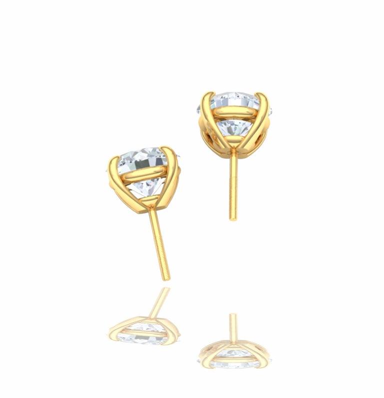 Modern 3 Carat Diamond Stud Earrings For Sale