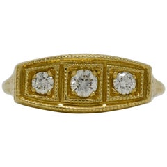 3 Diamond 14 Karat Gold Edwardian Style Trinity Engagement Ring Wedding Band