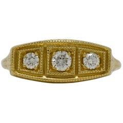 3 Diamond 14 Karat Gold Edwardian Style Trinity Engagement Ring Wedding Band