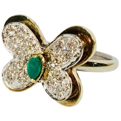 3 Dimensional 2 Tone 14k Gold Butterfly Ring 1.04 Carats Diamonds and Emerald