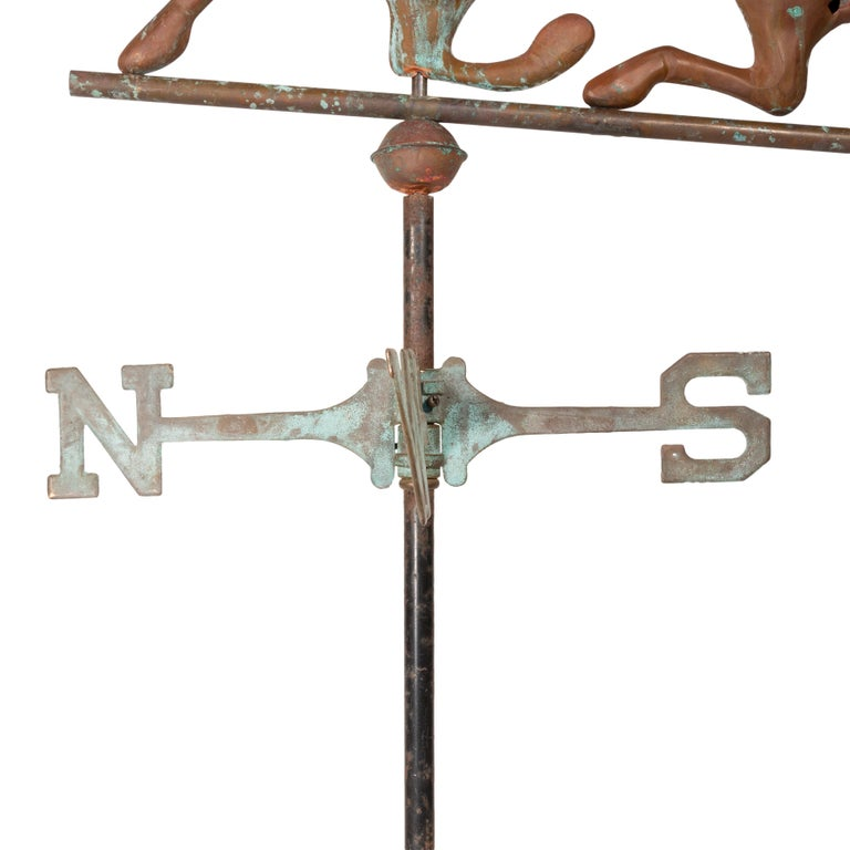 Antique 3D copper horse weather vane on directional rod. Patina and bullet holes to spare.  PERIOD: First quarter 20th Century SIZE: Horse 28