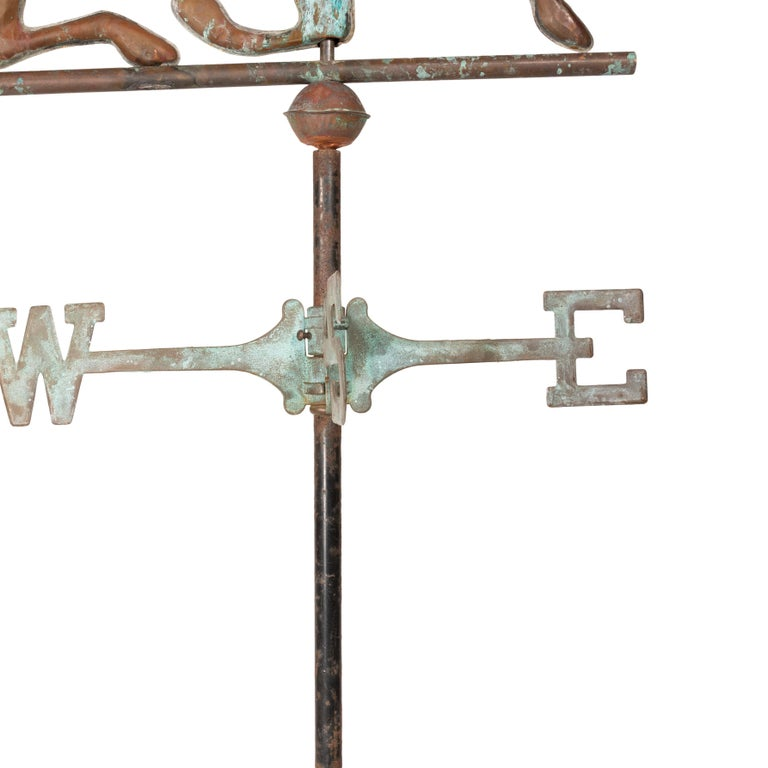 American 3 Dimensional Copper Trotting Horse Weather Vane For Sale
